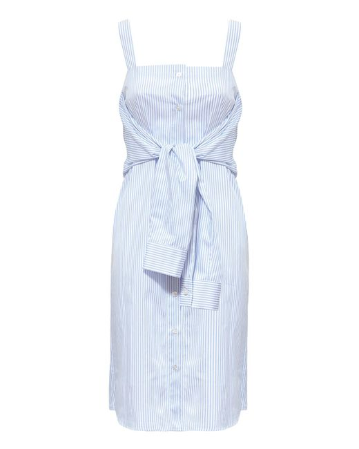 Maison Margiela | Blue Trompe L'oeil Strappy Stripe Cotton Dress | Lyst