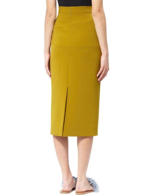 roksanda bow midi skirt in yellow lyst