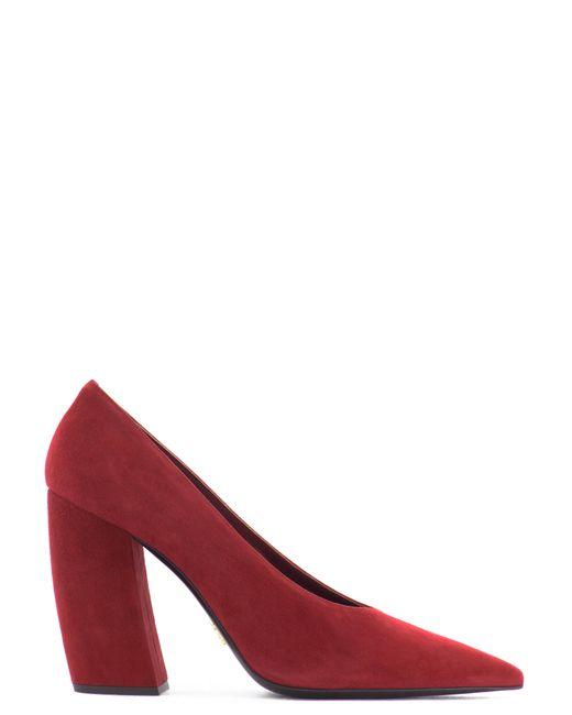 Prada | Red Slanted Heel Suede Pumps | Lyst