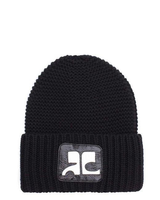Courreges | Black Logo Merino Wool Beanie for Men | Lyst