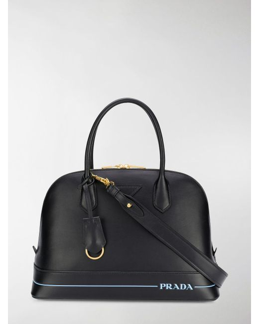 1f110bf7c136 ... new zealand newest collection 7b9c7 c5c15 prada black logo stamped tote  lyst .. 2c65a 29d42