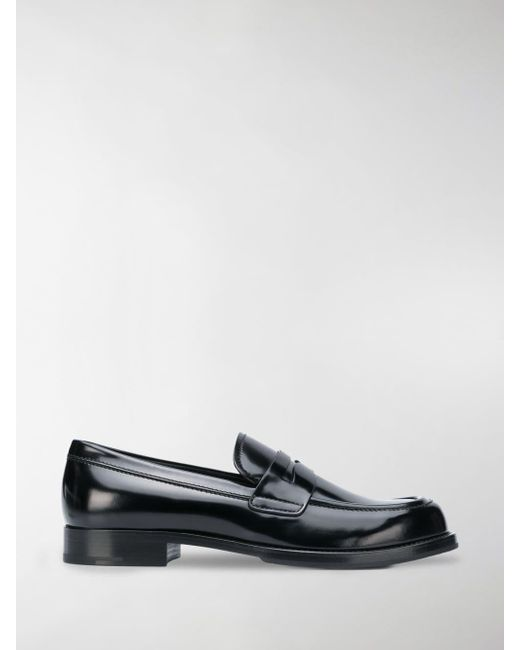 3fea8dac0ae Prada - Black Brushed Loafers for Men - Lyst ...
