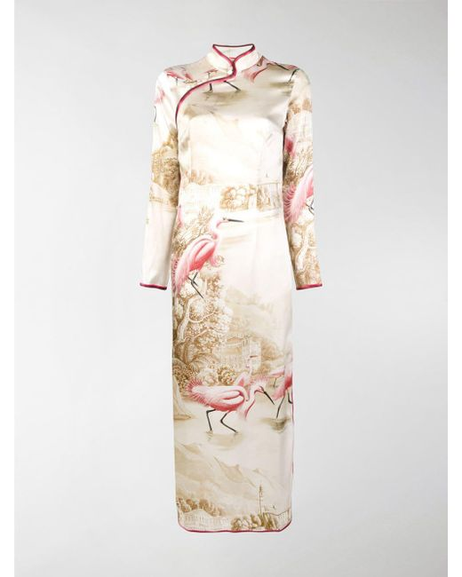 F.R.S For Restless Sleepers - White Printed Long Cheongsam Dress - Lyst