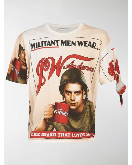 J.W. Anderson - Pink Self Portrait-print T-shirt for Men - Lyst