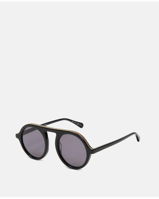 0c11c7e71c Lyst - Stella McCartney Shiny Black Round Sunglasses in Black - Save 37%
