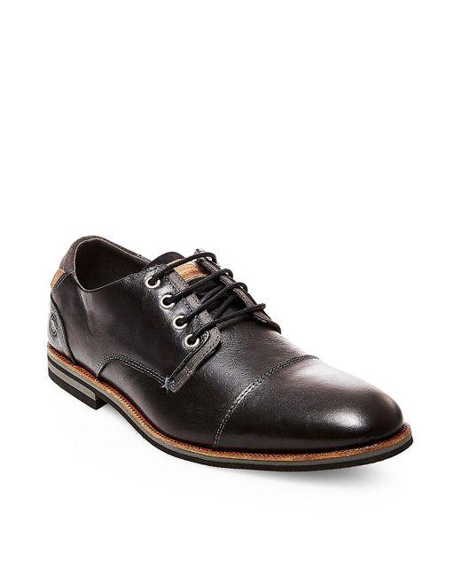 Steve Madden | Black Herbert Leather Cap Toe Oxfords for Men | Lyst