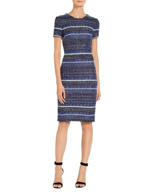 St. John - Blue Sale Eva Tweed Knit Dress - Lyst