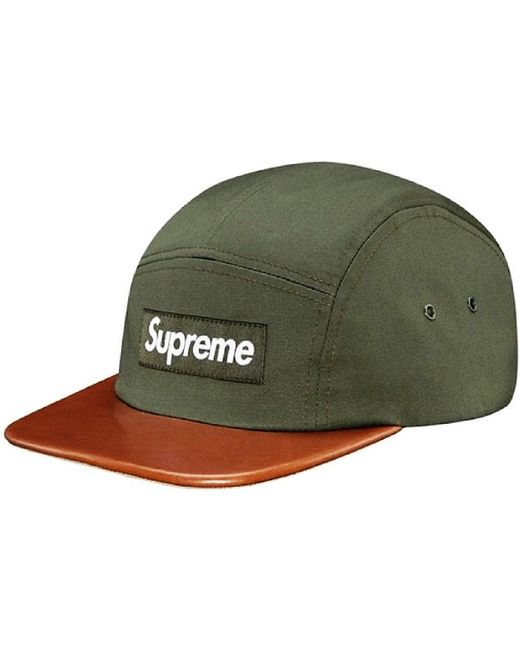 Lyst - Supreme Expedition Leather Visor Camp Cap Olive in Green for Men 2c5856ab32cf