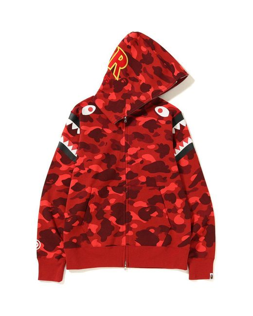 1ea3c285 A Bathing Ape - Color Camo Double Shark Full Zip Hoodie Red for Men - Lyst