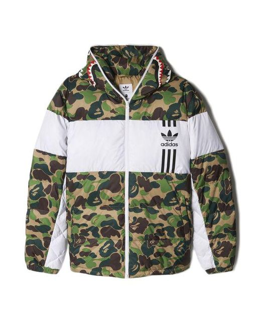 392ce66292ff5 A Bathing Ape - X Adidas Abc Camo Firebird Shark Puffer Jacket Green for  Men -