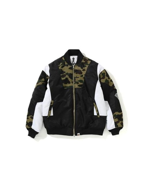 17b4f8dc16f2d A Bathing Ape - 1st Camo Color Block Padded Jacket Green for Men - Lyst