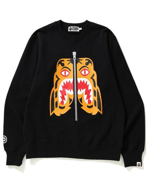 858b0798f A Bathing Ape Tiger Heavy Weight Crewneck Black in Black for Men ...