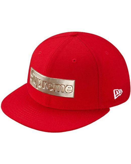 Lyst - Supreme Metallic Box Logo New Era Hat Red in Red for Men b2569087baa