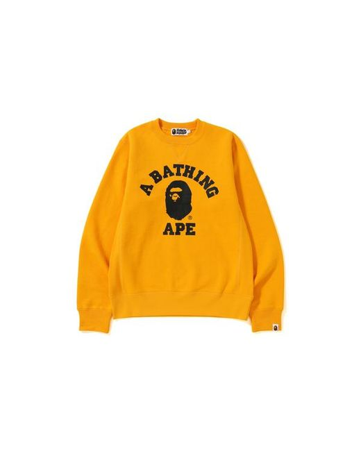 480b7242c A Bathing Ape College Heavy Weight Crewneck Yellow in Yellow for Men ...