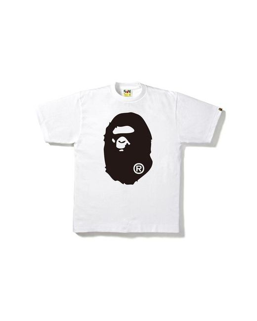 67769ea3 Lyst - A Bathing Ape Bicolor Big Ape Head Tee White/black in White ...
