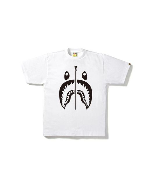 fa133a32 A Bathing Ape Bicolor Shark Tee White in White for Men - Lyst