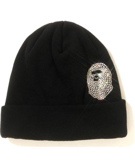 ad9cd87b939 Lyst - A Bathing Ape Ape Head Swarovski Knit Cap Black in Black for Men