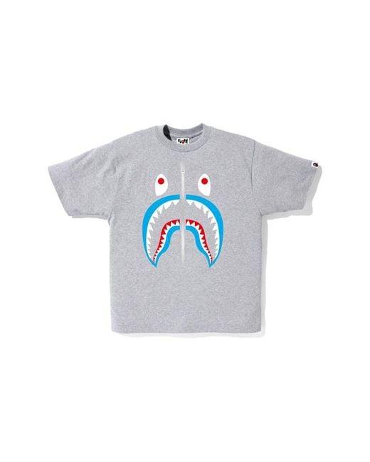 cc911b05 Lyst - A Bathing Ape Shark Tee Grey/light Blue in Gray for Men