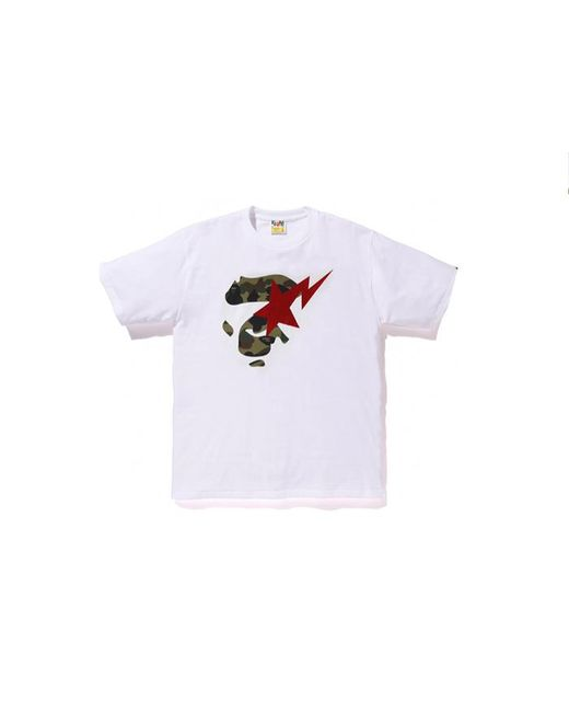 d5bd5e05 A Bathing Ape 1st Camo Ape Face On Sta Tee White/green/red in White ...