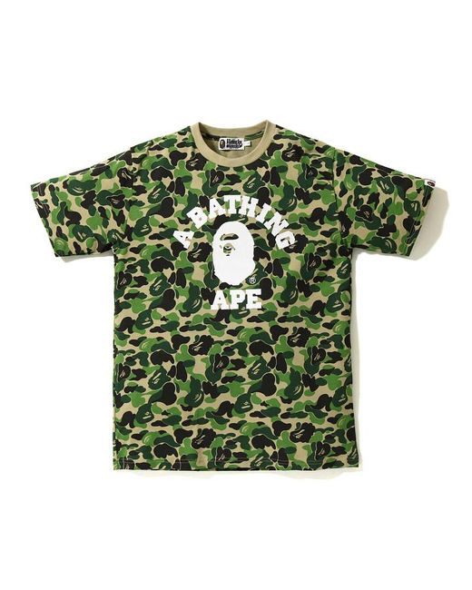 1b7455ea9 A Bathing Ape Abc College Tee Green in Green for Men - Lyst