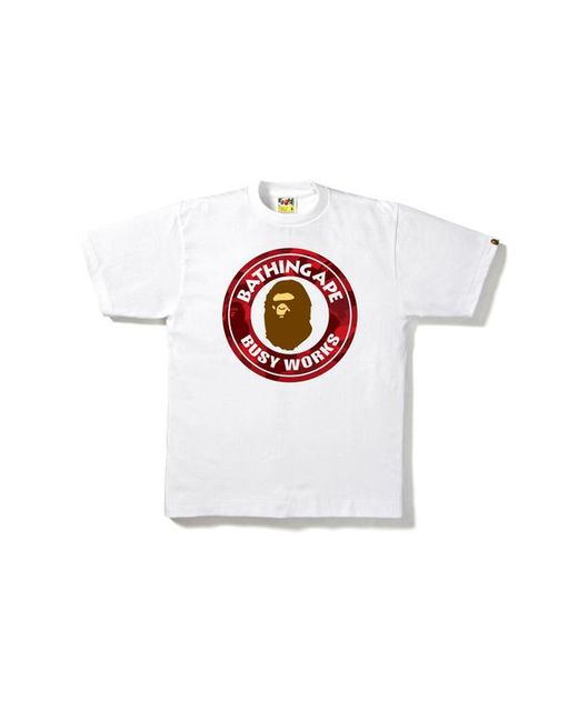 9e08c5ef Lyst - A Bathing Ape Color Camo Busy Works Tee White/red in White ...