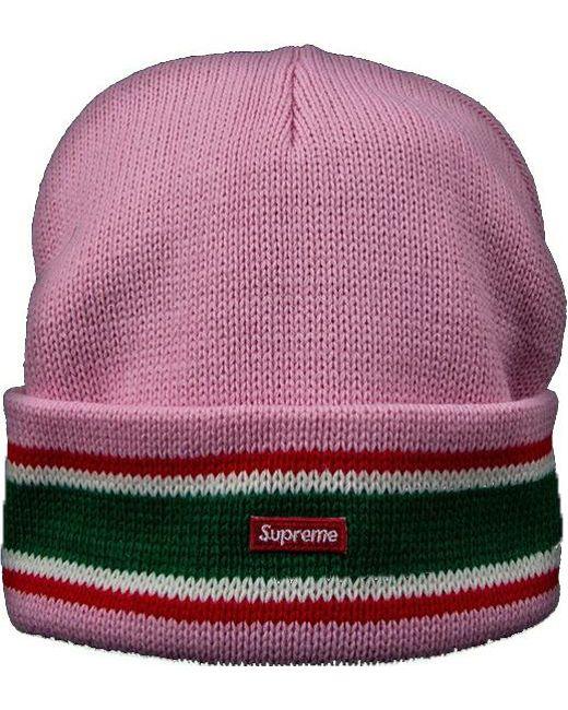 14da3150 Supreme Striped Cuff Beanie Light Pink in Pink for Men - Lyst