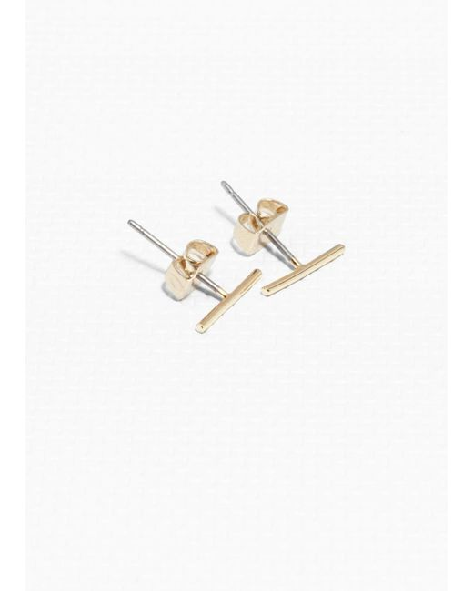 & Other Stories - Metallic Thin Bar Studs - Lyst