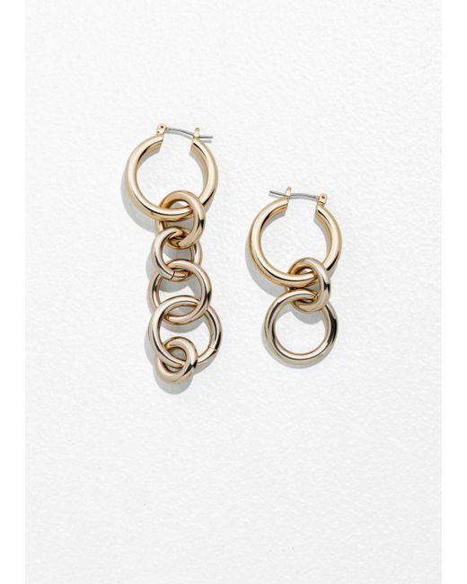 & Other Stories - Metallic Asymmetric Circle Link Earrings - Lyst