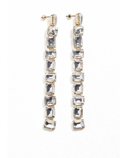 & Other Stories | Metallic Crystal Drop Earrings | Lyst