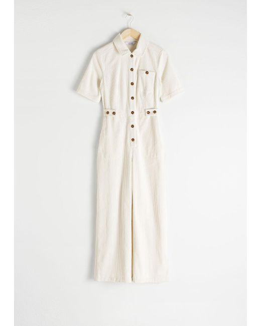 & Other Stories - White Corduroy Boilersuit - Lyst