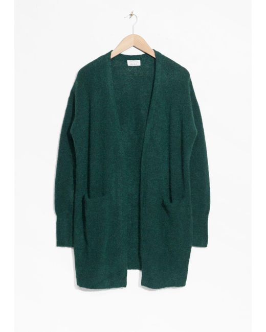 & Other Stories - Green Wool Blend Cardigan - Lyst