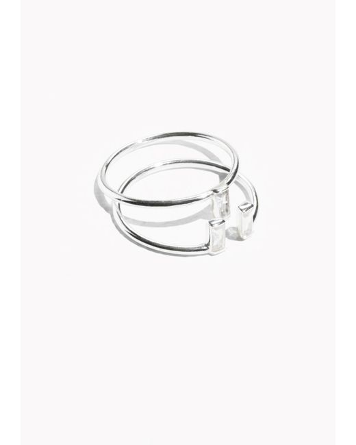 & Other Stories | Metallic Crystal Stacked Ring Set | Lyst