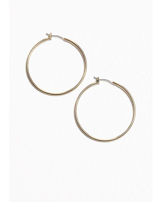 & Other Stories   Metallic P Hanford Hoop Earrings 40mm   Lyst