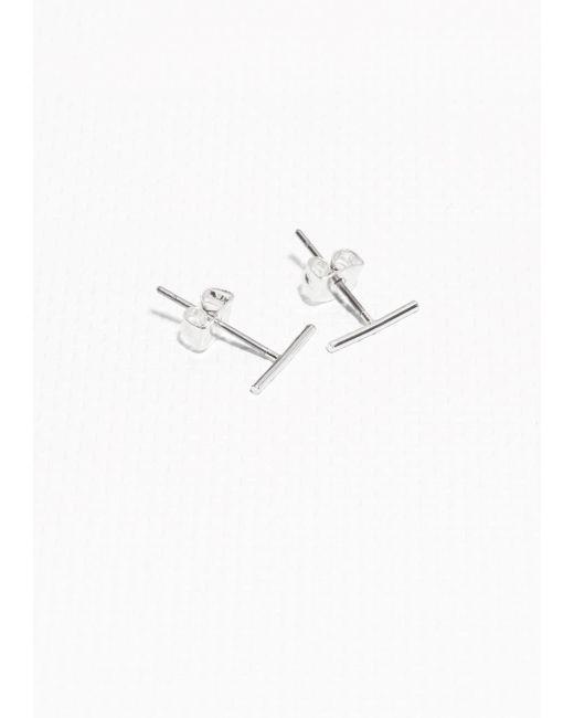 & Other Stories | Metallic Thin Bar Studs | Lyst