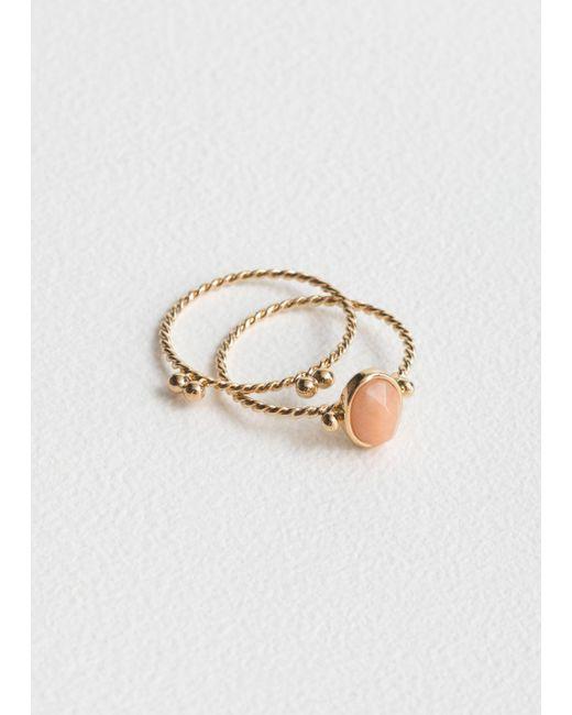 & Other Stories - Orange Round Stone Ring Set - Lyst