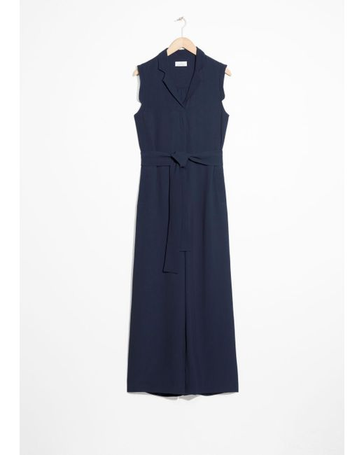 & Other Stories - Blue Belted Wide Leg Jumpsuit - Lyst