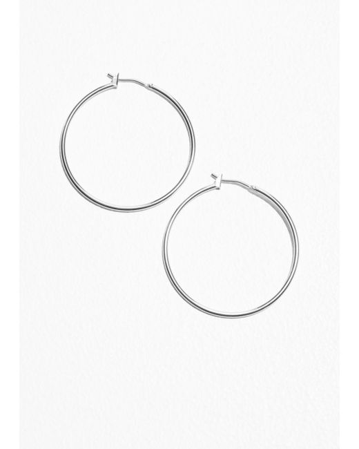 & Other Stories - Metallic Mid Size Hoop Earrings - Lyst
