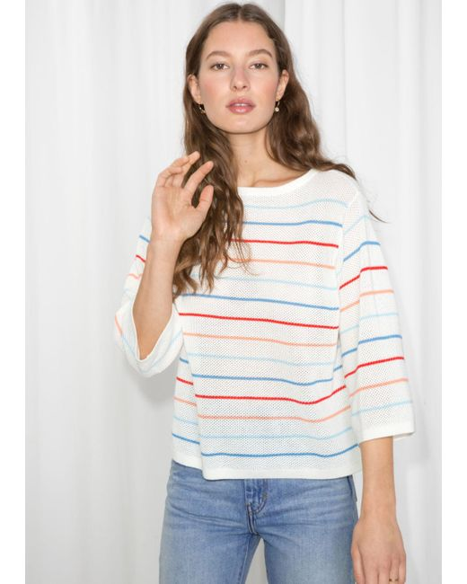 & Other Stories - White Striped Oversized Top - Lyst
