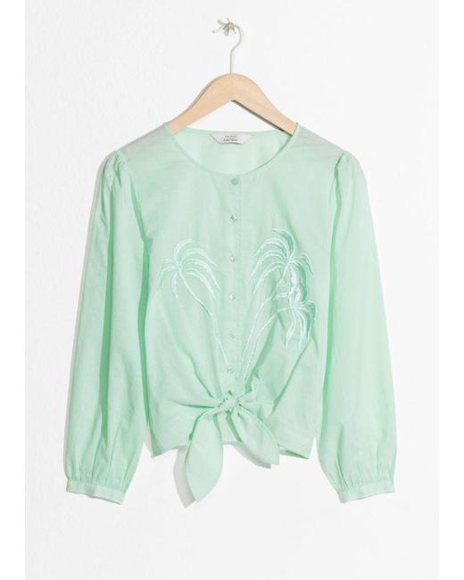 & Other Stories - Green Palm Tree Embroidered Blouse - Lyst
