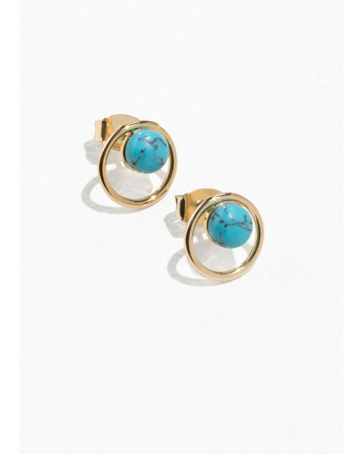 & Other Stories - Blue Bead Circle Studs - Lyst