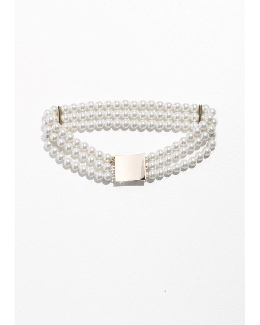 & Other Stories | White Square Pendant Pearl Choker | Lyst