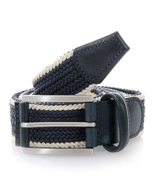Andersons | Blue Anderson Belts Twin Braided Cream Navy Belt for Men | Lyst