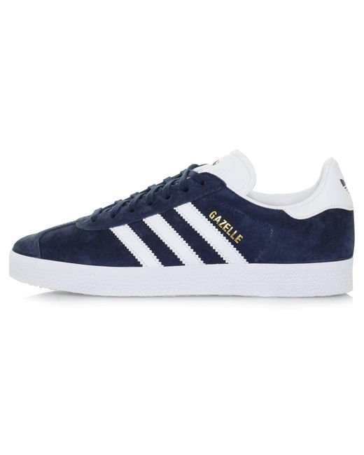 Adidas originals Gazelle Navy Suede Shoe in Brown for Men ...