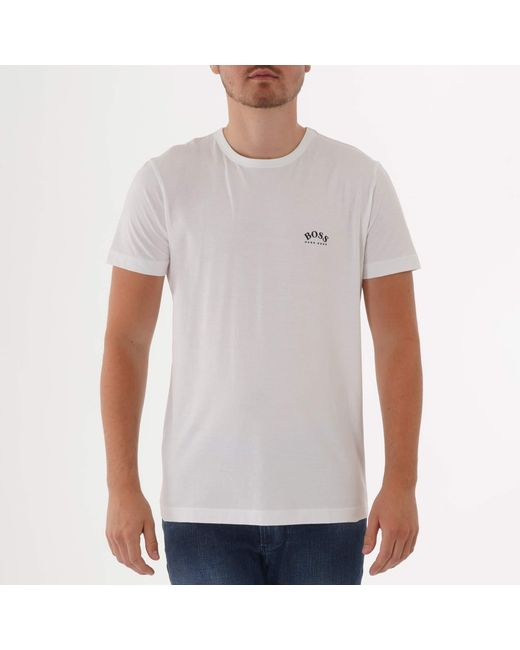 26af1e14 BOSS Curved Logo T-shirt - White in White for Men - Lyst