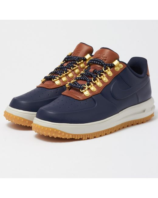 Nike - Blue Lunar Force 1 Duckboot Low - Obsidian & Saddle Brown for Men ...