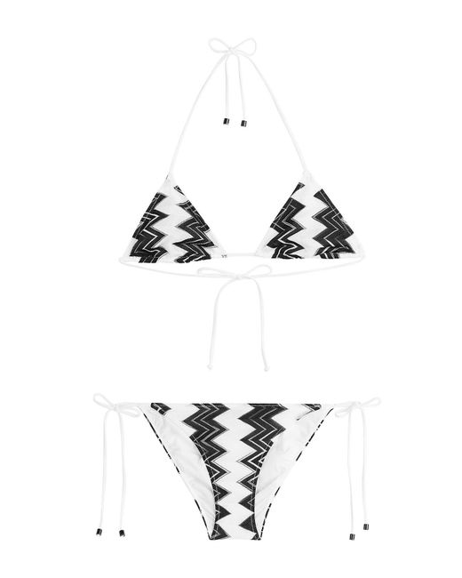 Missoni - Black Chevron Knit Triangle Bikini - Lyst