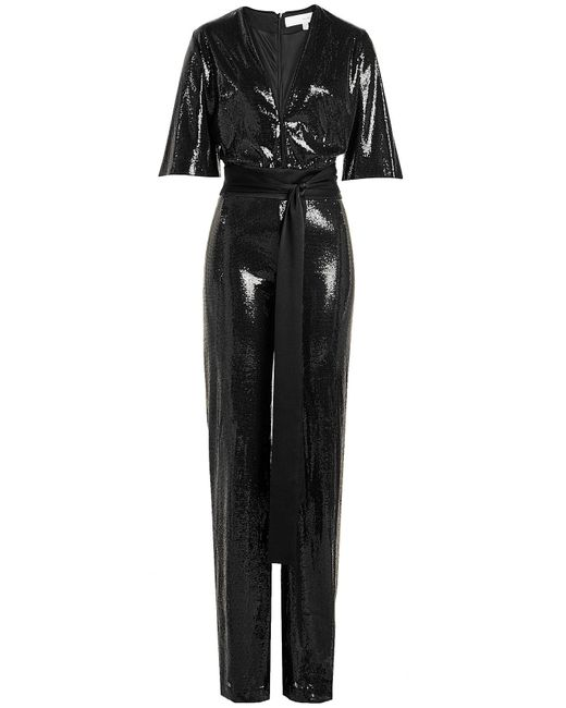 Galvan - Black Sequin Jumpsuit - Lyst