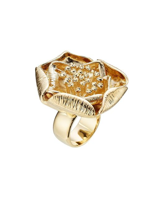 Aurelie Bidermann - 18kt Yellow Gold-plated Flower Ring - Lyst