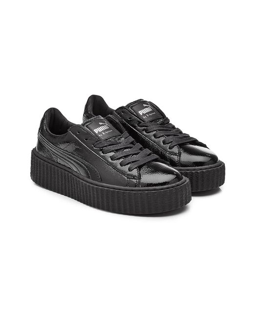 PUMA - Black Patent Leather Creeper Sneakers - Lyst