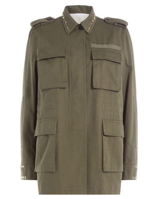 Valentino - Green Cotton Jacket With Rockstuds - Lyst